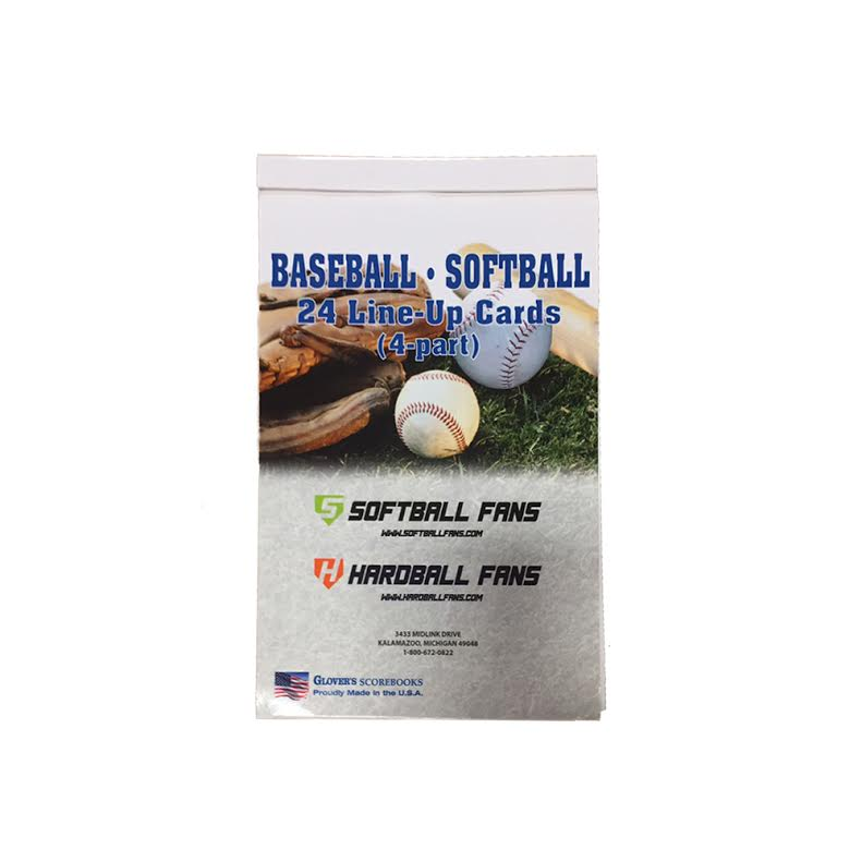 Glovers Stock Line Up Cards 24 B/&S-22 Baseball /& Softball Line-Up Cards